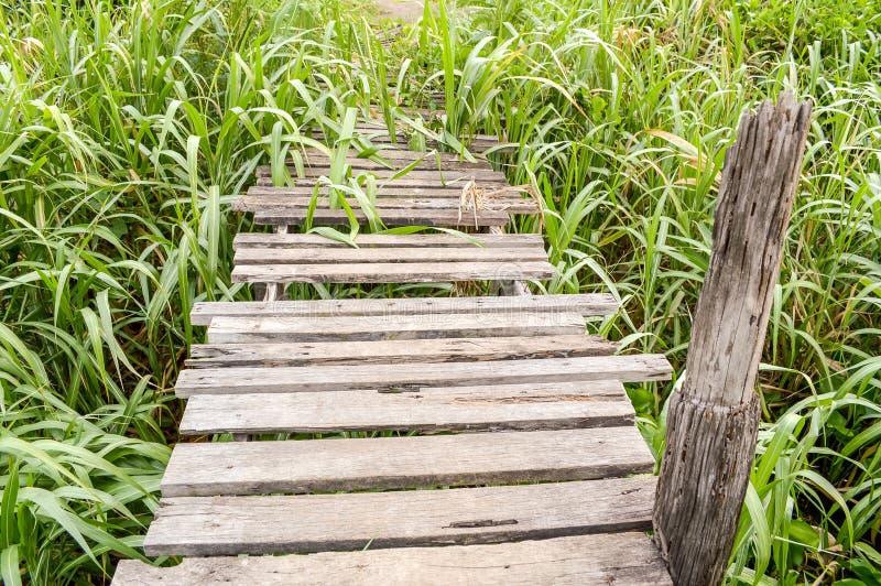 Vieux pont en bois dans le pays Thaïlande photos libres de droits