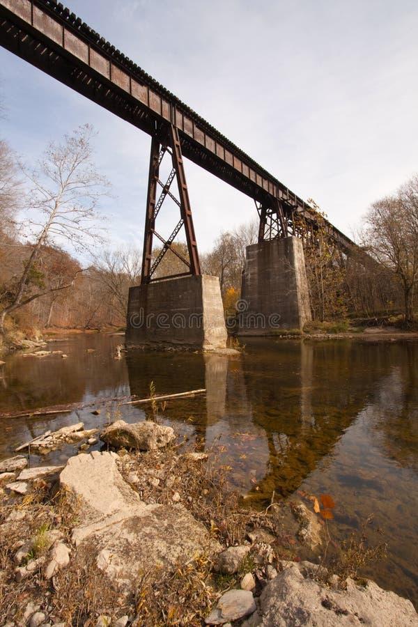 Vieux pont en chemin de fer au-dessus d'une verticale de crique image libre de droits