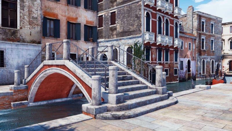 Vieux pont en pierre au-dessus d'illustration du canal 3D de Venise illustration libre de droits
