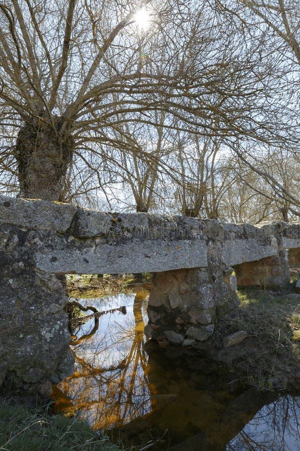 Vieux pont en pierre au-dessus d'une rivière images libres de droits