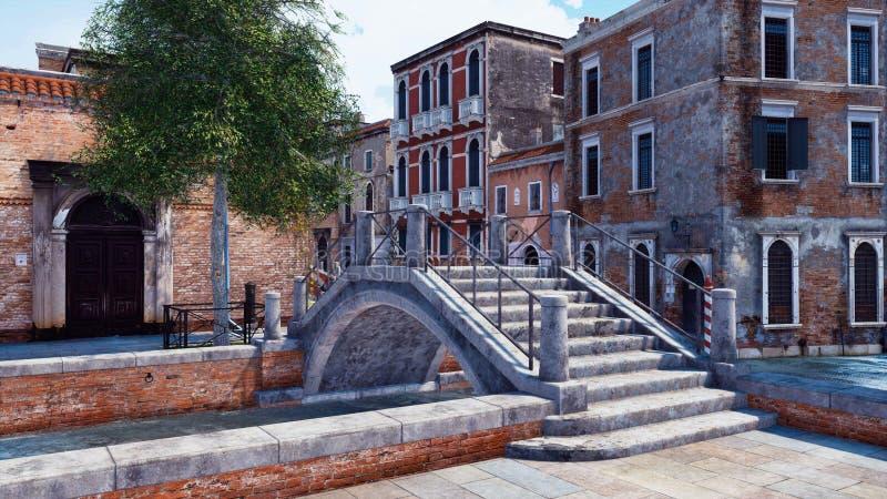 Vieux pont en pierre au-dessus de canal étroit de l'eau à Venise illustration libre de droits