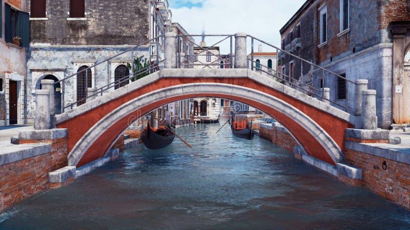 Vieux pont en pierre au-dessus de canal de l'eau à Venise, Italie illustration de vecteur