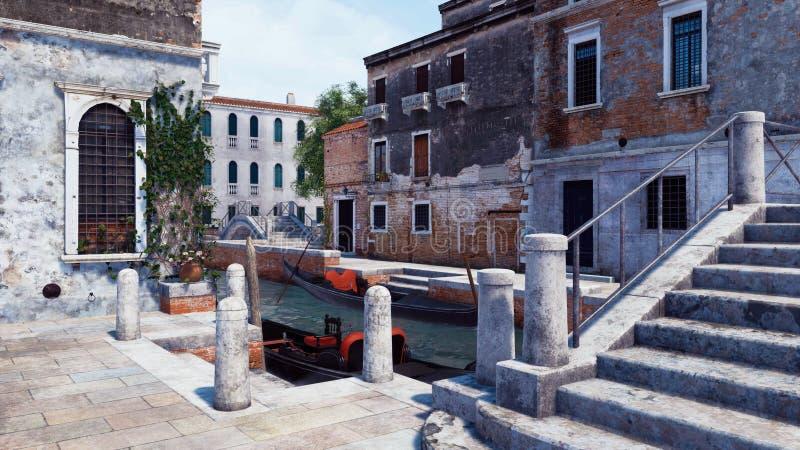 Vieux pont et quai en pierre pour les gondoles vénitiennes illustration libre de droits