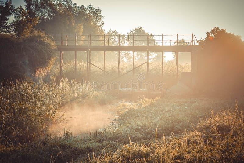 Vieux pont un matin d'été photos libres de droits