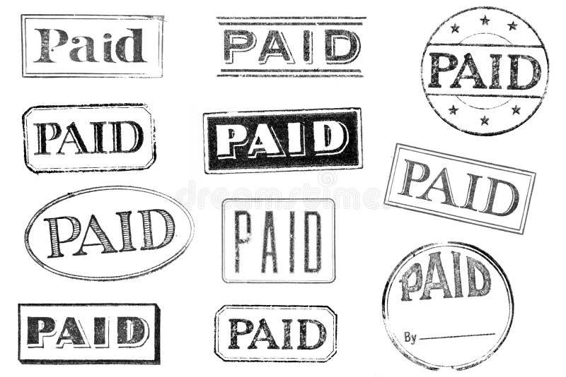 Vieux, portés timbres payés illustration libre de droits
