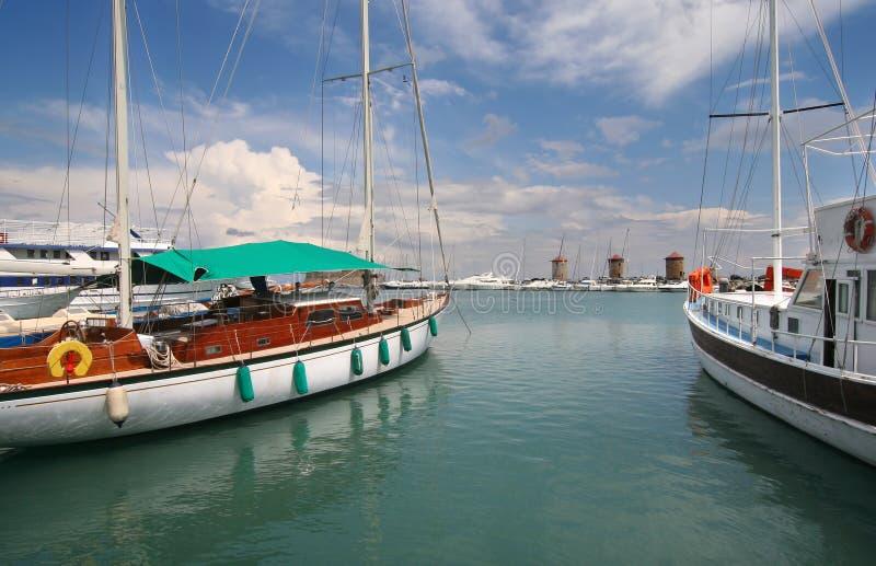 Vieux port de Rhodos image stock