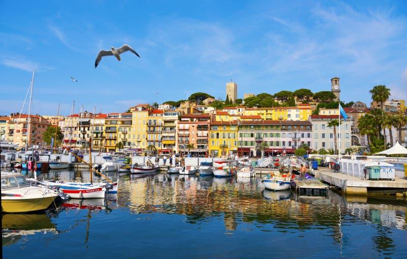 Vieux port i Cannes, Frankrike arkivbild