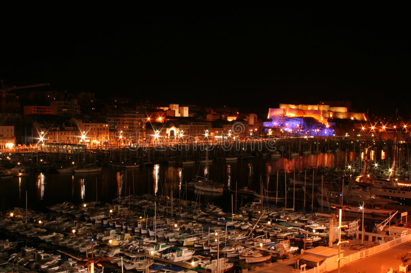 Vieux Port by night (Marseille, France) stock photography