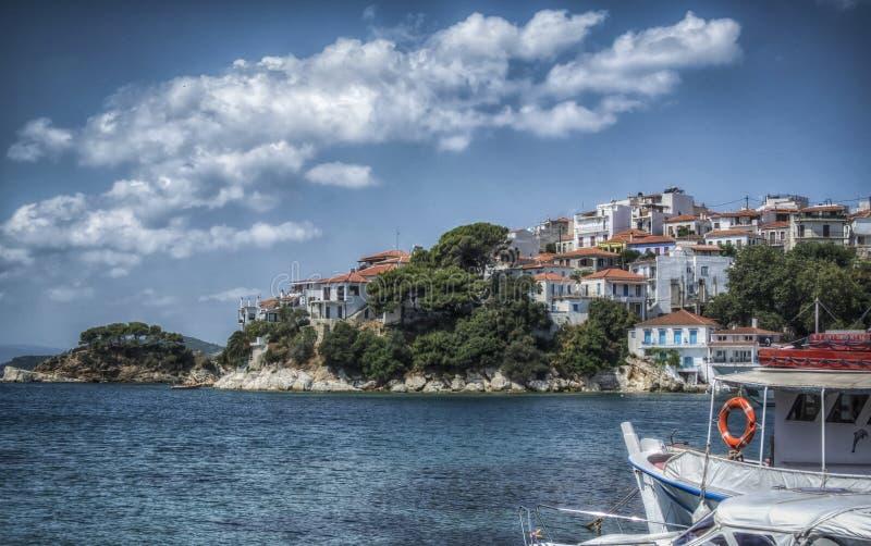 Vieux port sur Skiathos images libres de droits