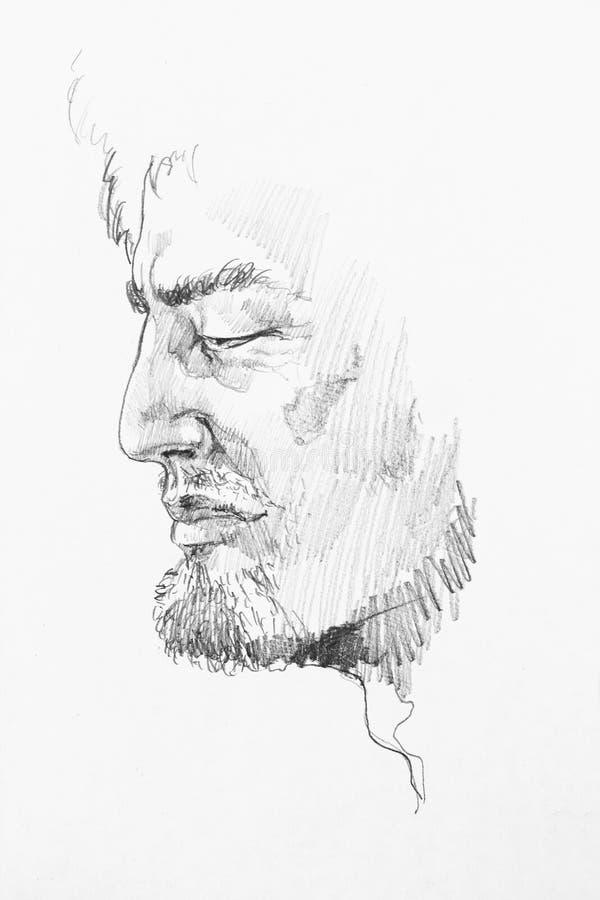 Vieux portrait caucasien sage de croquis d'abrégé sur crayon d'homme illustration libre de droits