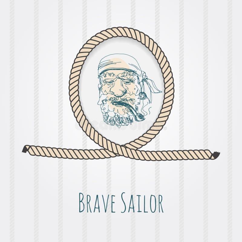 Vieux portrait de marin illustration de vecteur
