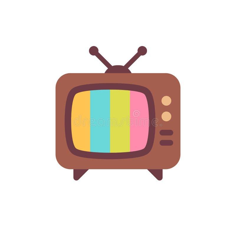 Vieux poste TV avec l'écran d'erreurs Icône plate du cru TV illustration stock