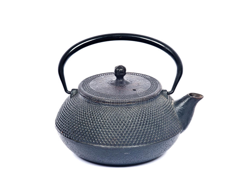 Vieux pot de thé de fonte photos libres de droits