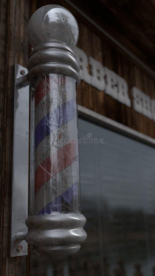 Vieux poteau de coiffeur dans Barber Shop image libre de droits