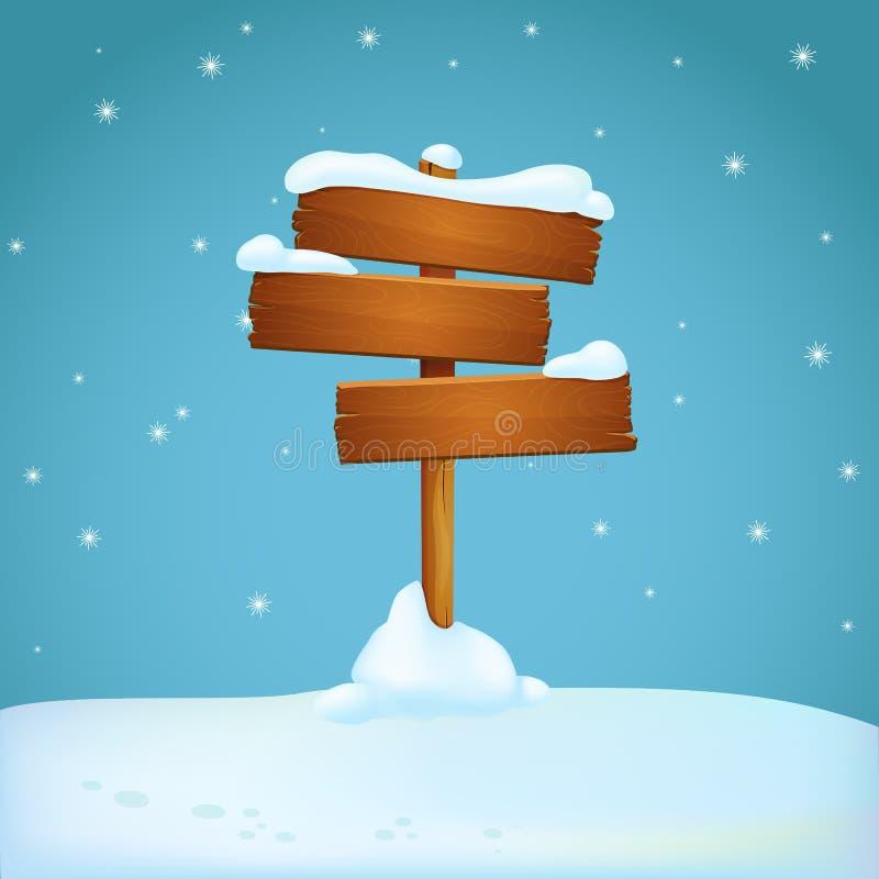 Vieux poteau indicateur en bois délabré avec trois planches couvertes de neige au sol neigeux Fond bleu avec les flocons de neige illustration de vecteur