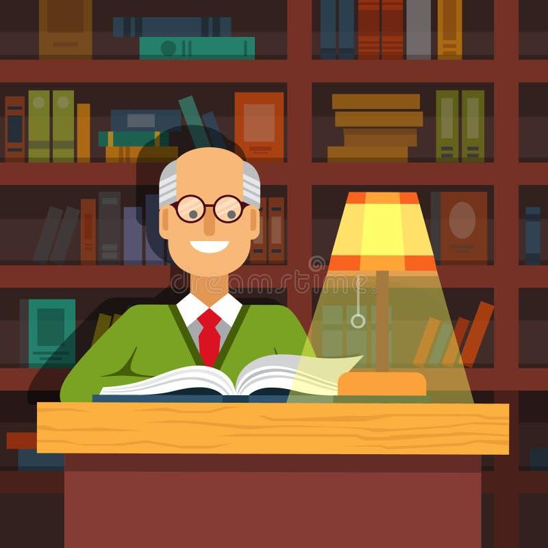 Vieux professeur en verres lisant un livre illustration stock