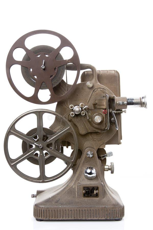 Vieux projecteur de film d'isolement sur le blanc image stock