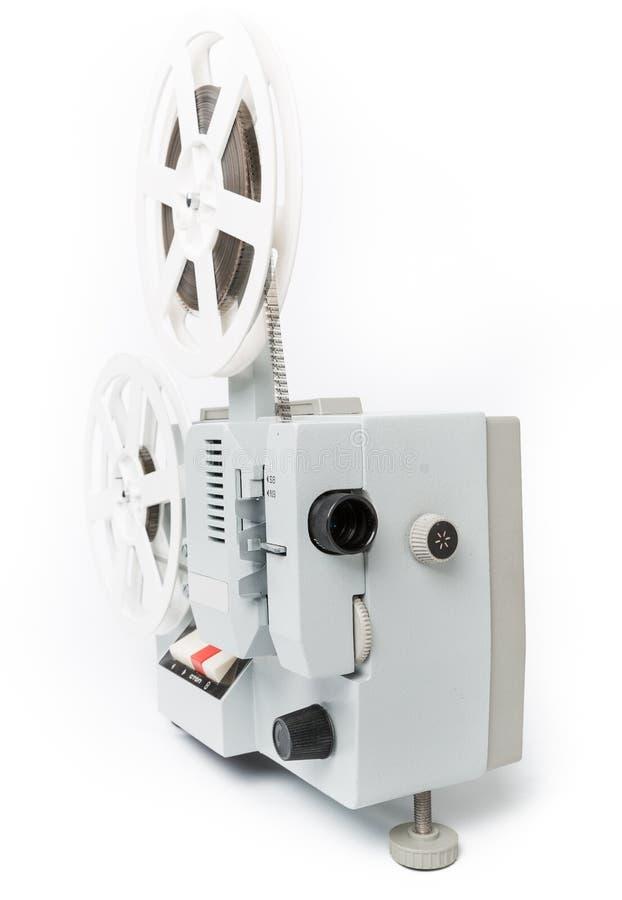 Vieux projecteur de film d'isolement sur un fond blanc image stock