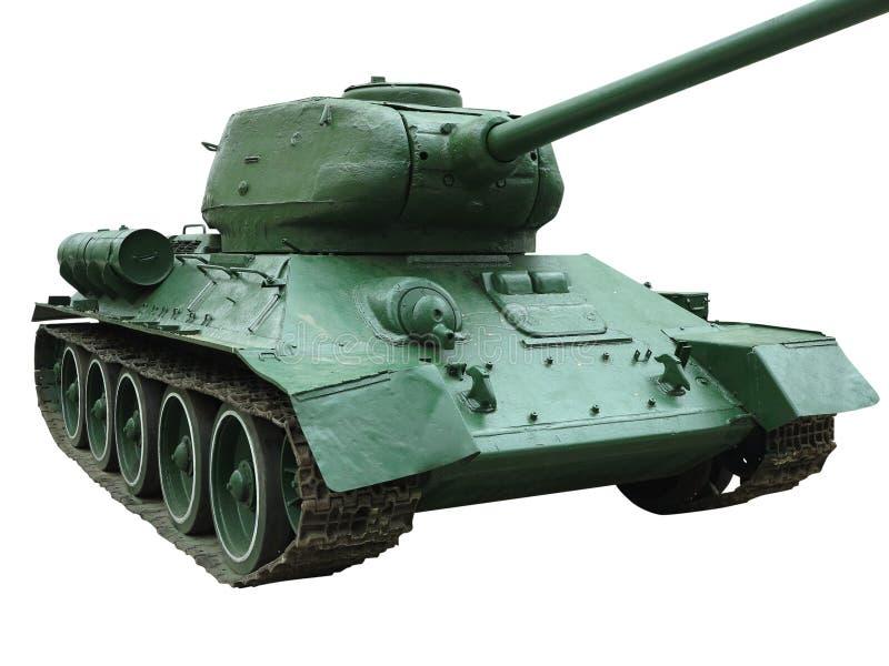 Vieux r?servoir vert du Sovi?tique T-34 d'isolement sur le fond blanc image libre de droits