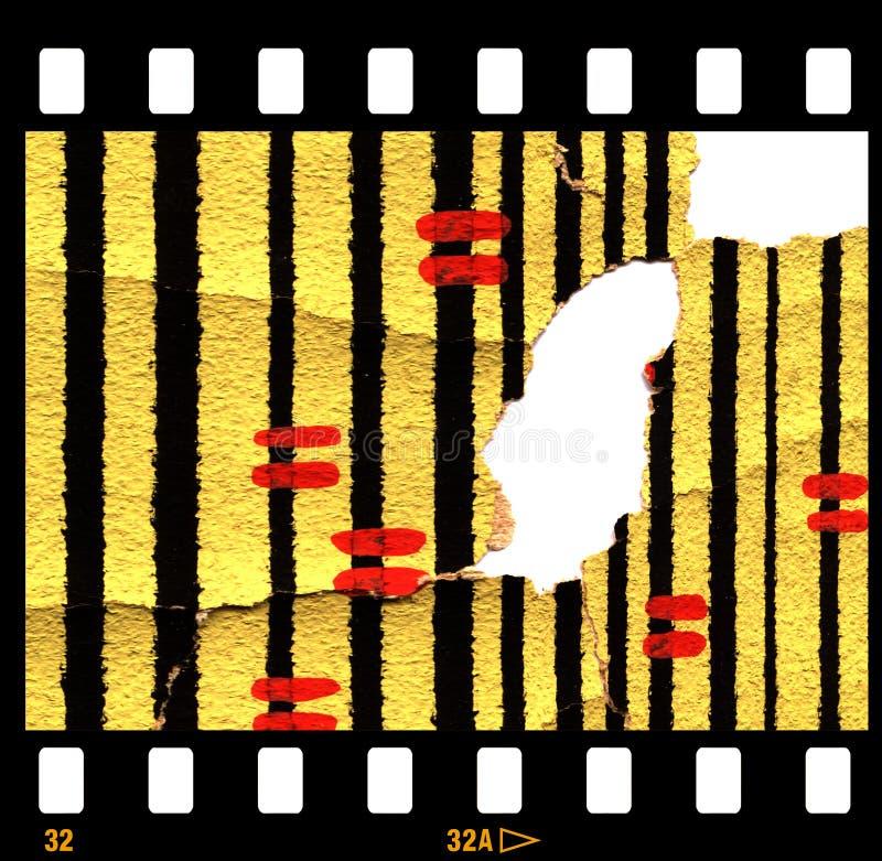 Vieux rétro papier peint déchiré avec la trame de film illustration stock