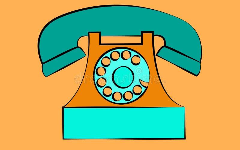Vieux rétro téléphone stationnaire bleu de hippie d'antiquité de vintage avec la prise d'air et disque sur un fond jaune illustration libre de droits