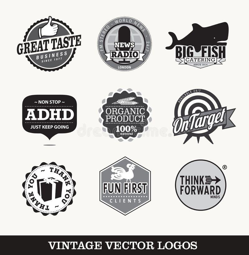 Vieux rétros logos  illustration de vecteur