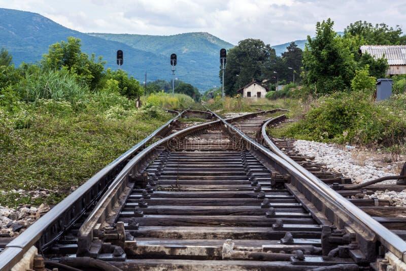 Vieux rails de train en nature et développés dans l'herbe photos libres de droits