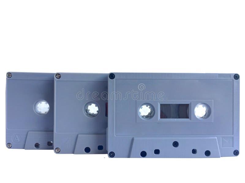 Vieux recouvrement gris classique de cassette de bande d'isolement sur le fond blanc photos stock
