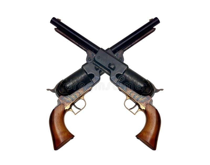 Vieux revolver de colt en métal deux photo libre de droits