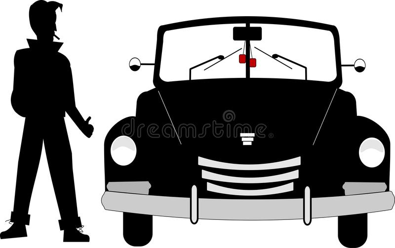 Vieux roadster d'années '50 illustration de vecteur