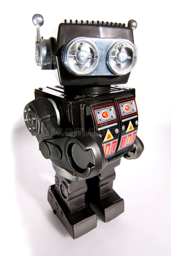 Vieux robot #2 de bidon de jouet image libre de droits