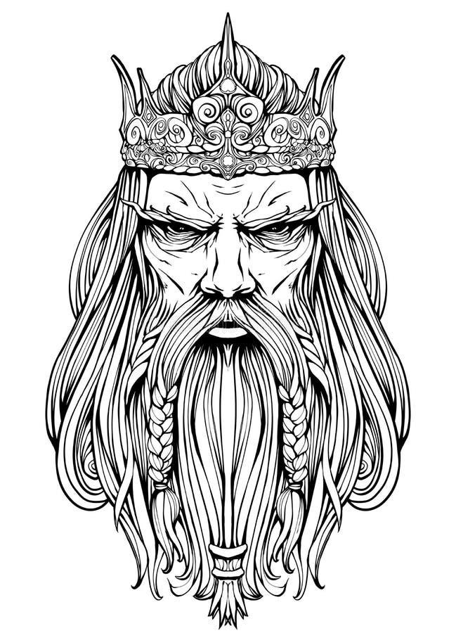 Vieux roi dur avec un ligne-art de couronne illustration stock