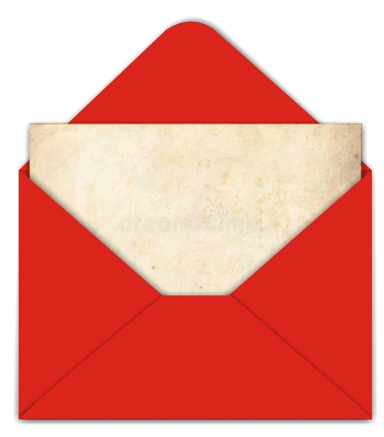 vieux rouge de papier d'enveloppe photographie stock