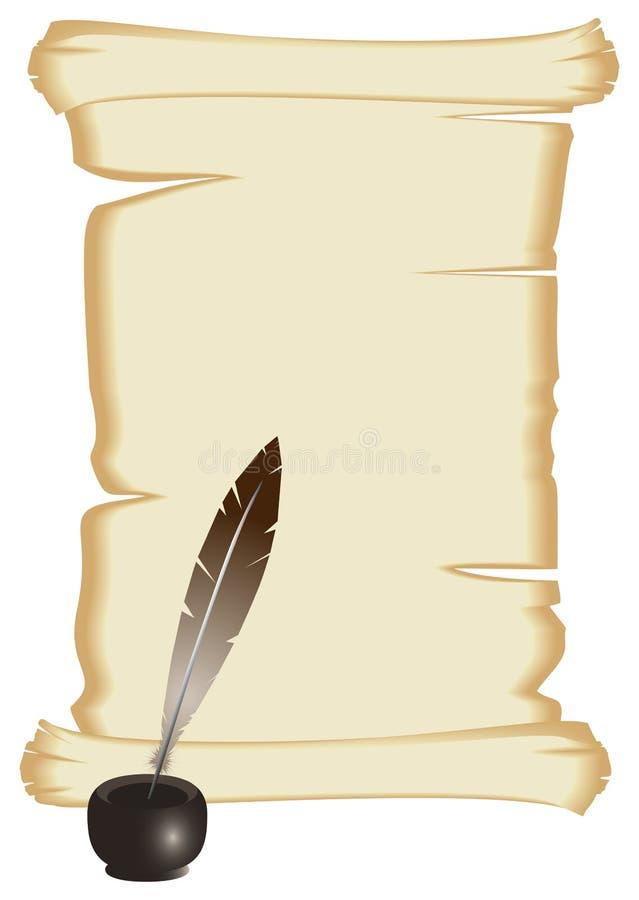 Vieux rouleau avec la plume et encrier encastré sur le fond blanc illustration stock