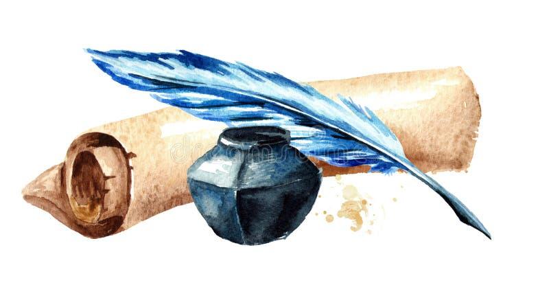 Vieux rouleau de papier avec le stylo et l'encrier encastré Illustration tirée par la main d'aquarelle, d'isolement sur le fond b illustration de vecteur