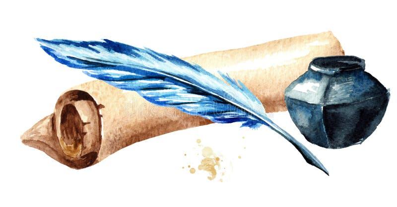 Vieux rouleau de papier avec le stylo et l'encrier encastré Illustration tirée par la main d'aquarelle, d'isolement sur le fond b illustration libre de droits