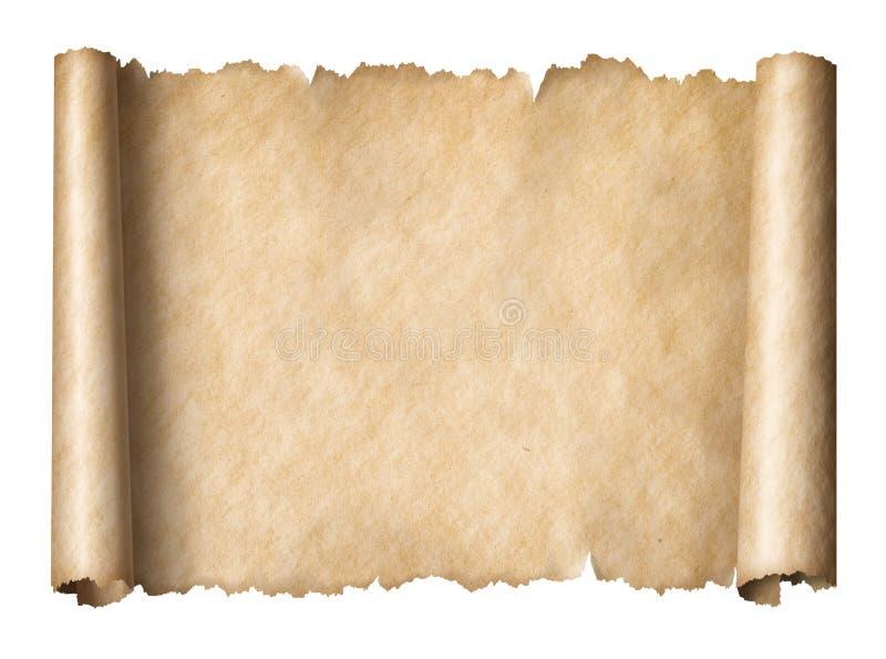 Vieux rouleau de papier de manusript d'isolement sur orienté horizontalement blanc photos libres de droits