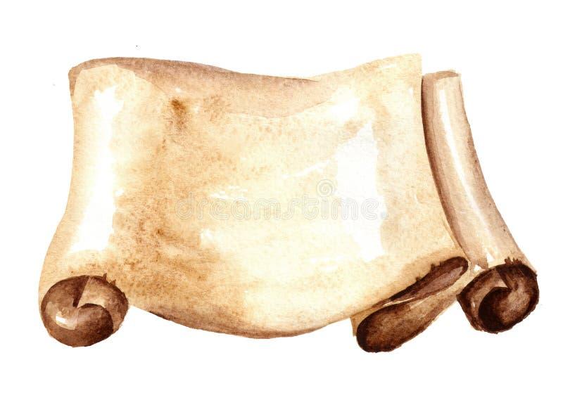 Vieux rouleau de papier ou parchemin horizontal Illustration tirée par la main d'aquarelle, d'isolement sur le fond blanc illustration libre de droits