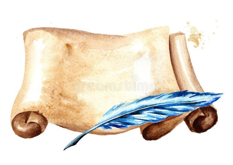 Vieux rouleau horizontal de papier avec le stylo Illustration tirée par la main d'aquarelle d'isolement sur le fond blanc illustration stock