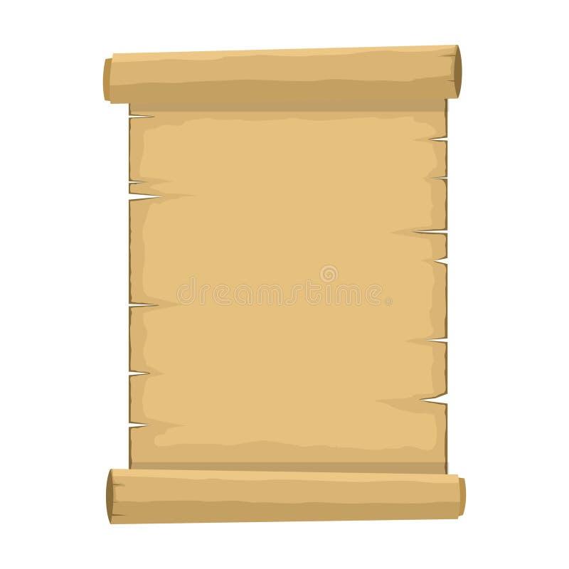 Vieux rouleau vide de bande dessinée de papier de papyrus sur le fond blanc Rétro feuille vide de papyrus dans le style plat illustration libre de droits