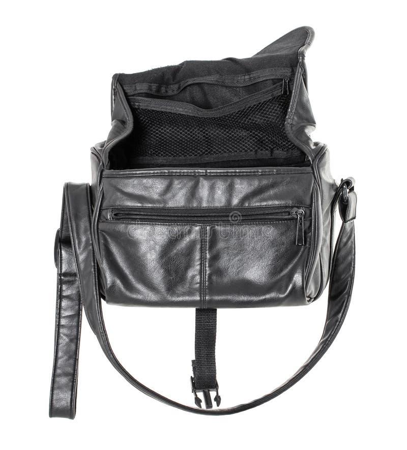 Vieux sac en cuir noir image stock
