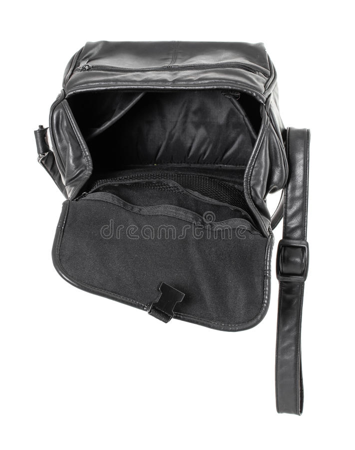 Vieux sac en cuir noir photos stock