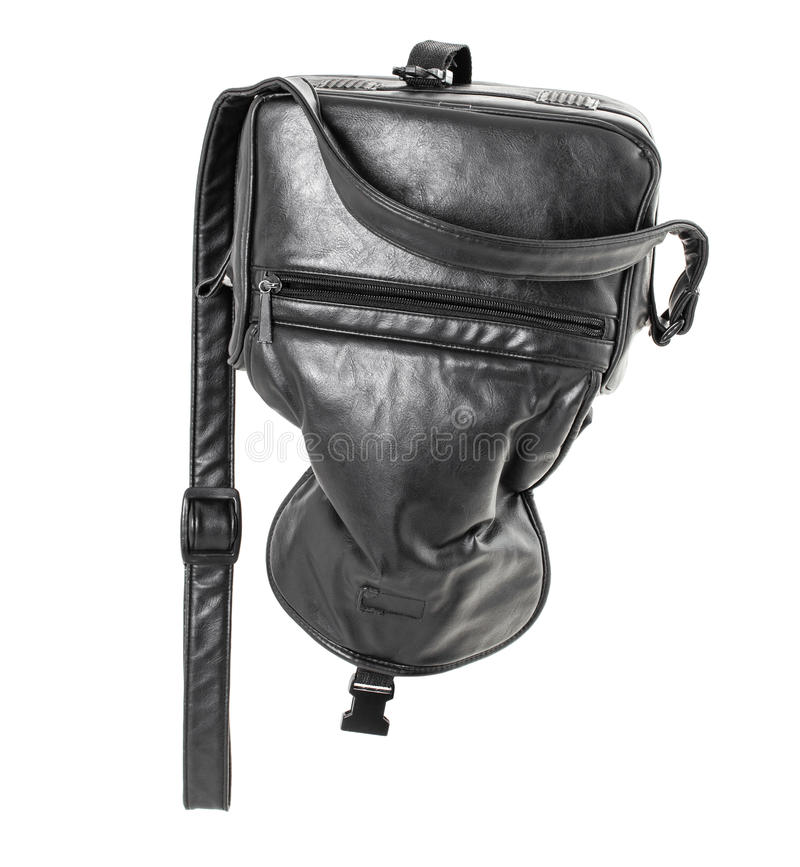 Vieux sac en cuir noir photographie stock