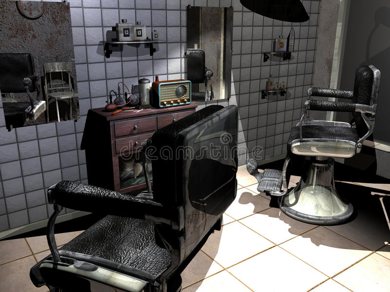 Vieux salon de coiffure illustration de vecteur