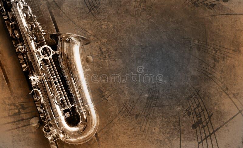 Vieux Saxophone Avec Le Fond Modifié Images stock