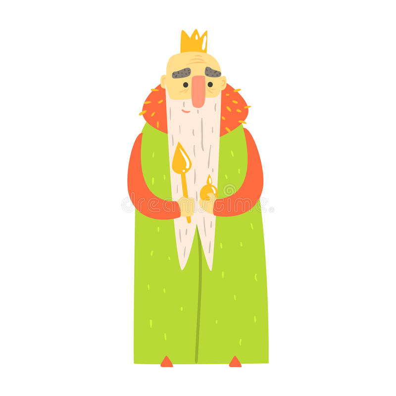 Vieux sceptre aimable du Roi With Orb And dans le caractère puéril de manteau de bande dessinée verte de conte de fées illustration de vecteur