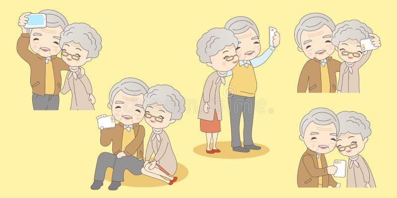 Vieux selfie de couples de bande dessinée illustration libre de droits