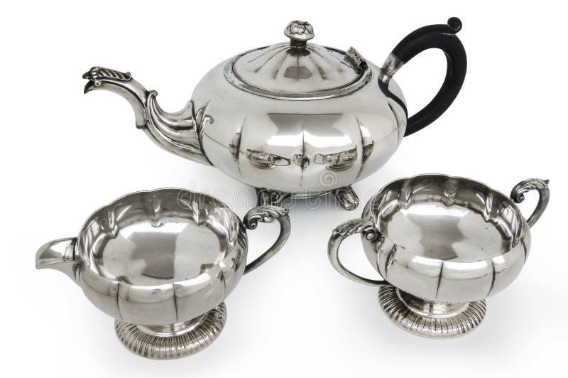 Vieux service à thé argenté photographie stock