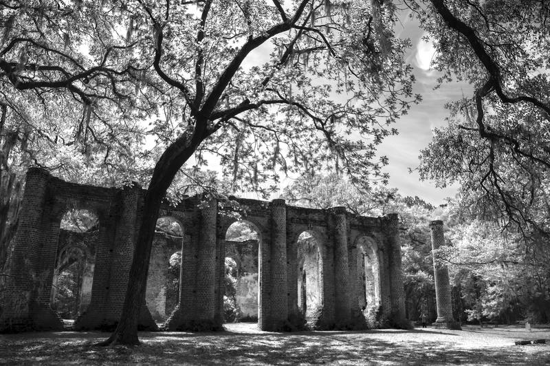 Vieux Sheldon Church Ruins Yemassee, la Caroline du Sud images libres de droits