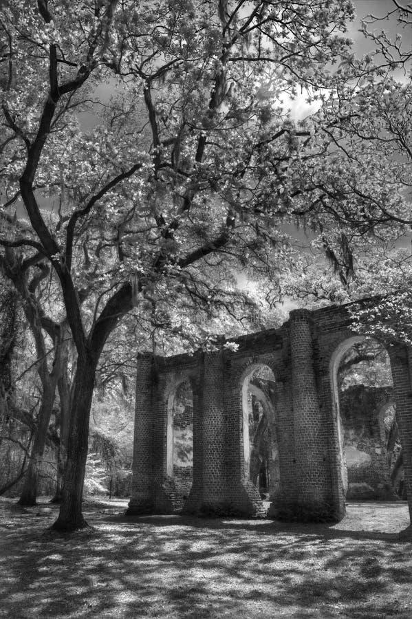 Vieux Sheldon Church Ruins Yemassee, la Caroline du Sud images stock